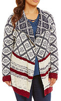 Blu Pepper Plus Border Print Drape Front Cardigan