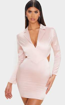 PrettyLittleThing Blush Textured Satin Cut Out Blazer Style Bodycon Dress