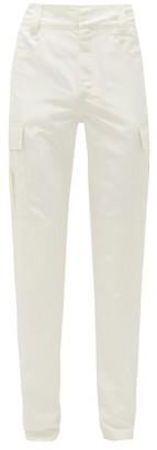 Marine Serre Slim-leg Faille Cargo Trousers - Mens - White