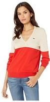 Lacoste Long Sleeve V-Neck Color-Block Cotton Sweater (Corrida/Marten) Women's Clothing
