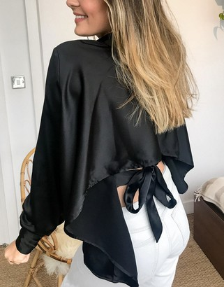 ASOS DESIGN long sleeve satin shirt with cut out back in black