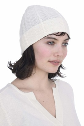 Cashmeren Fold-Over Cable Knit Beanie 100% Pure Cashmere Cuffed Brim Hat for Women (Ivory)