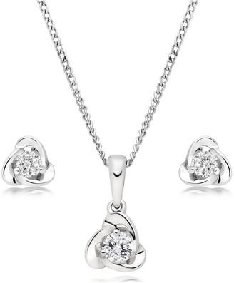 Beaverbrooks 9ct White Gold Diamond Pendant and Earrings Set