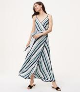 LOFT Tall Striped Wrap Maxi Dress