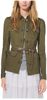 Michael Kors Crushed-Cotton Cargo Jacket