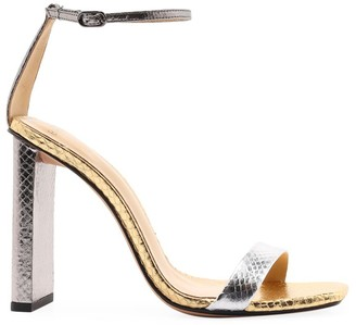 Alexandre Birman Dazzle Two-Tone Metallic Snake Sandals