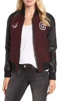 GUESS Women's Patch Detail Mixed Media Bomber Jacket