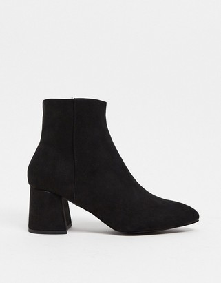 Schuh Becky mid heeled ankle boot in black suedette