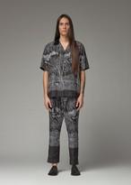 Sacai Men's Diamond Head Short Sleeve Shirt in Black Size 1 Polyester/Cotton Trim