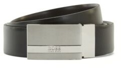 HUGO BOSS Reversible leather belt with plaque buckle