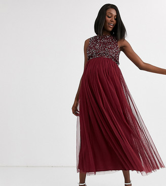 Maya Maternity Bridesmaid delicate sequin 2 in 1 midaxi dress in wine-Red