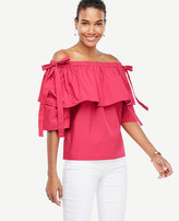 Ann Taylor Poplin Off The Shoulder Tie Sleeve Top