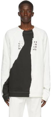 Maison Margiela Off-White and Black Tear Sweatshirt