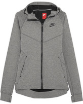 Nike Tech Fleece Stretch Cotton-blend Jersey Hooded Top - Gray