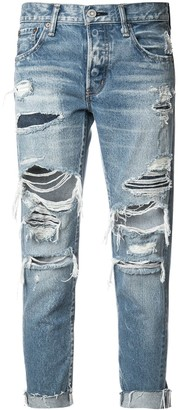 Moussy Vintage distressed cropped jeans