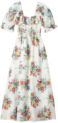 WAYF Jolene Smocked Midi Dress (Ivory Boquet Swiss Dot) Women's Dress