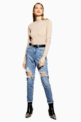 Topshop PETITE Destroy Ripped Mom Jeans