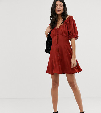 Asos Tall DESIGN Tall sweetheart babydoll mini swing dress with button through-Red