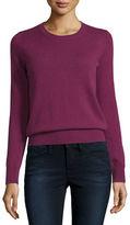 Neiman Marcus Long-Sleeve Crewneck Cashmere Sweater, Plus Size