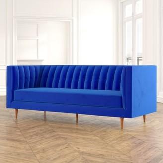 "MistanaTM Hartell 88.4"" Tuxedo Arm Sofa Mistana Upholstery Color: Navy"