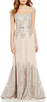 Terani Couture Metallic Lace Cap Sleeve A-Line Gown
