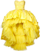 Mikael D. strapless hi-low gown