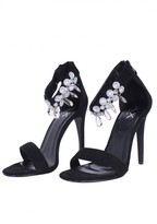 AX Paris Black Diamante Barely There Heels