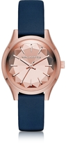 Karl Lagerfeld Janelle Rose Gold-tone PVD Stainless Steel Women's Quartz Watch w/Blue Leather Strap