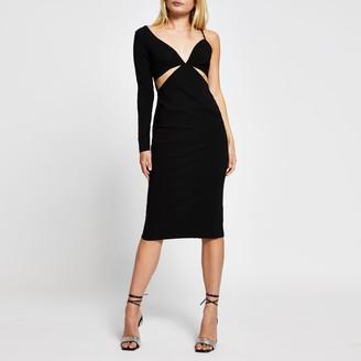 River Island Womens Black long sleeve one shoulder bodycon dress