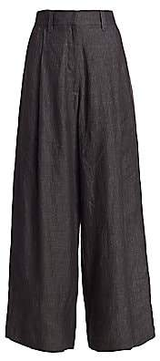 Brunello Cucinelli Women's Chambray Linen Wide-Leg Pants