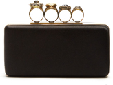 Alexander McQueen Jewel-rings satin knuckle clutch