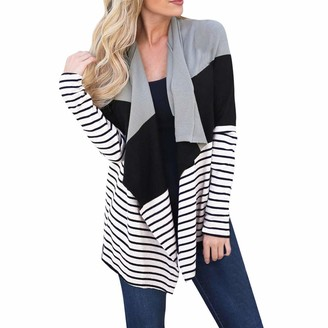 TOPKEAL Coat Women Winter Stripe Open Front Jacket Ladies Long Sleeve Warm Overcoat Cardigan Outwear (Black M)