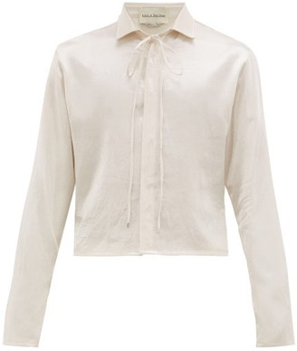 Ludovic De Saint Sernin - Cropped-hem Drawstring-neck Satin Shirt - Mens - White