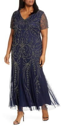 Pisarro Nights V-Neck Embellished Mesh Gown
