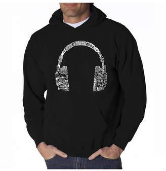 La Pop Art Men Word Art Hoodie - Headphones - Music In Different Languages