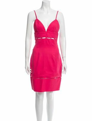 Emilio Pucci V-Neck Knee-Length Dress Pink
