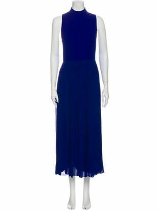 Christian Dior Mock Neck Long Dress Blue