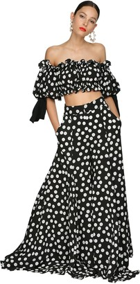 Carolina Herrera Off-the-shoulder Polka Dot Crepe Top
