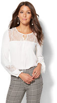 New York & Co. 7th Avenue Design Studio - Lace-Trim Peasant Blouse - Tall