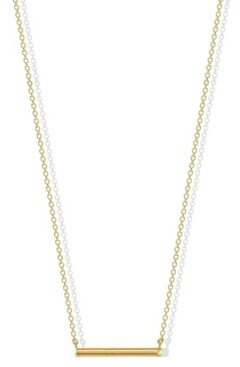 Argentovivo Hexagon Bar Necklace in 18k Yellow Gold over Sterling Silver