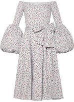 Caroline Constas Gisele Off-the-shoulder Printed Cotton-blend Poplin Dress - Blue