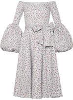 Caroline Constas Gisele Off-the-shoulder Printed Cotton-blend Poplin Dress