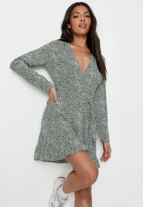 Missguided Green Sprinkle Print Ruffle Wrap Tea Dress