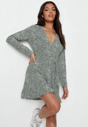 Missguided Sprinkle Print Ruffle Wrap Tea Dress
