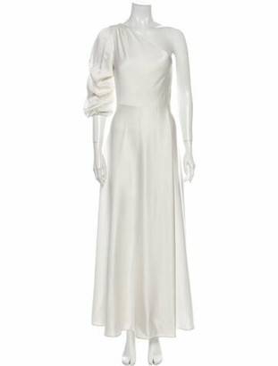 Alice + Olivia One-Shoulder Long Dress White