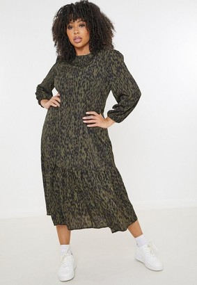 Missguided Plus Size Khaki Leopard Print Midaxi Smock Dress