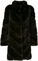 Yves Salomon panelled coat - women - Silk/Rabbit Fur - 36