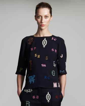 Stella McCartney Monogram-Embroidered Blouse