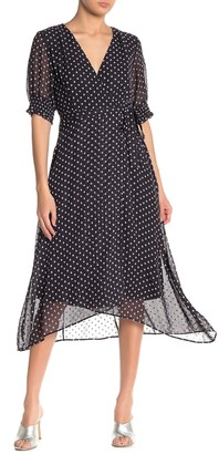 Gabby Skye Polka Dot Elbow Sleeve High/Low Dress