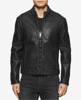 Calvin Klein Jeans Men's Bonded Faux-Leather Aviator Jacket